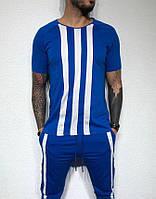 Мужская футболка сине-белая в полоску