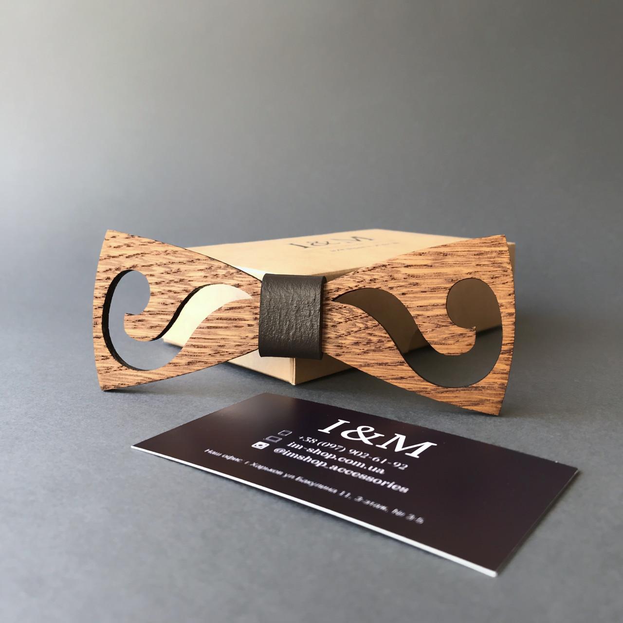 Галстук-бабочка I&M Craft из дерева с гравировкой усов (011222)