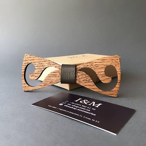 Галстук-бабочка I&M Craft из дерева с гравировкой усов (011222), фото 2