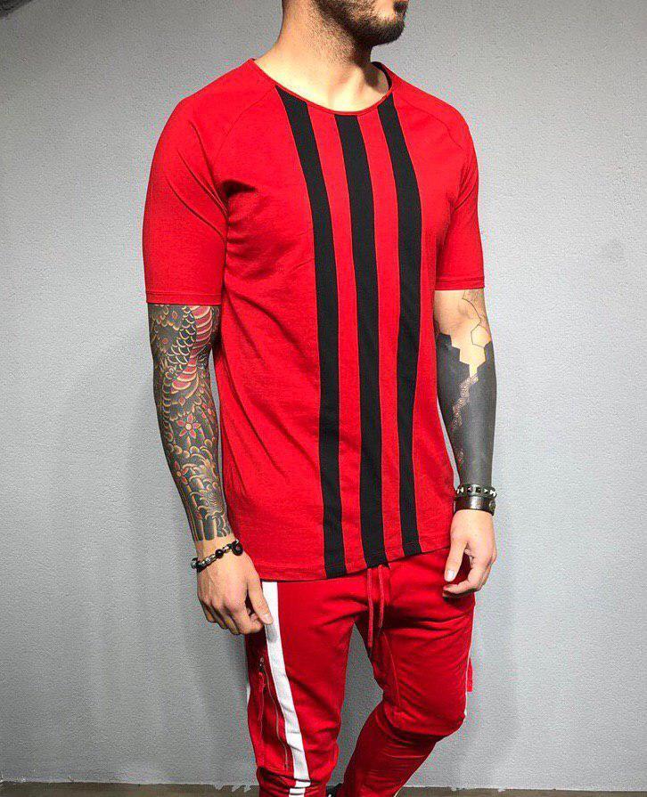 Чоловіча футболка червоно-чорний у смужку
