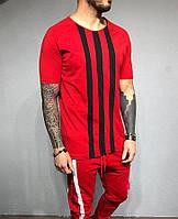Чоловіча футболка червоно-чорний у смужку, фото 1