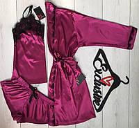 Домашний шелковый комплект тройка 090-020, шелковая одежда для дома.