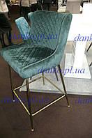 Барный стул велюр В-120-2 изумрудный (зеленый) Vetro Mebel, ноги золото