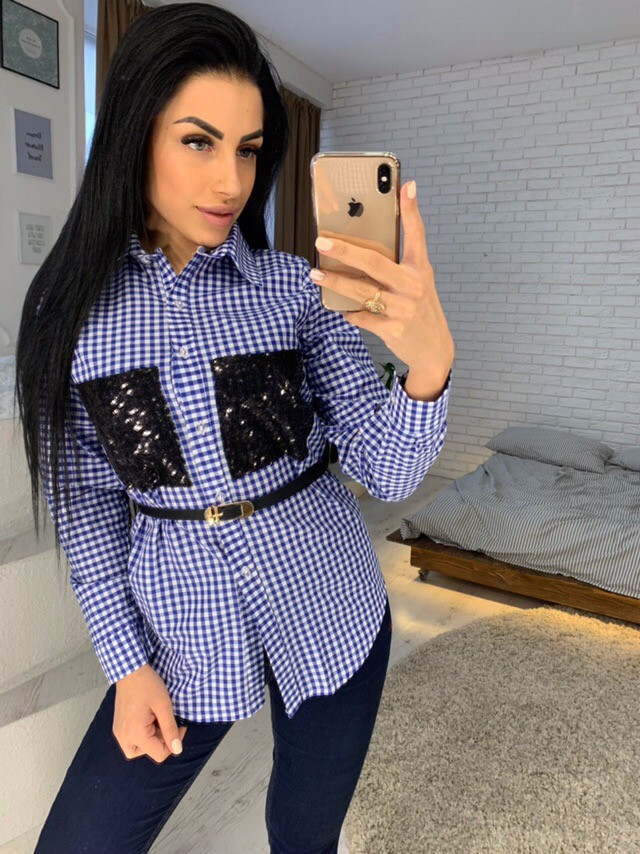 6d381d1cd83 Рубашка женская стильная в клетку с карманами пайетка Bl291 - Shoppingood в  Харькове