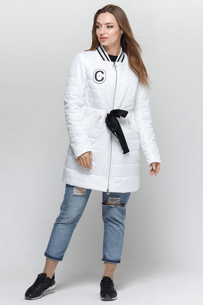Стильная женская демисезонная куртка CW18C086ACW белая фирмы CLASNA