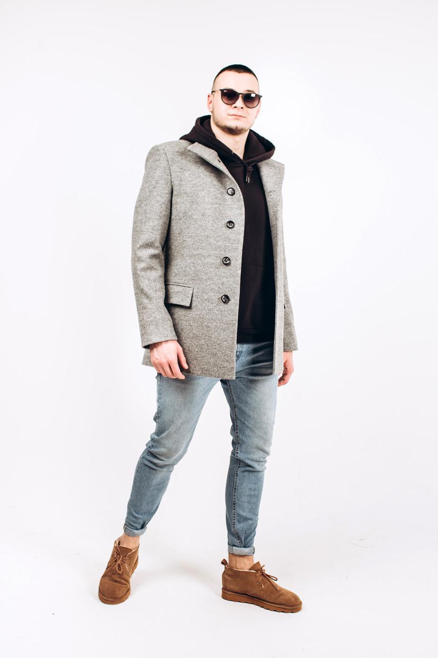 Пальто мужское из шерсти серой М6
