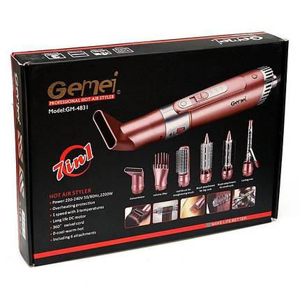 Воздушный стайлер для волос 7 в 1 Gemei GM-4831 мощный стайлер фен расческа-плойка, фото 2