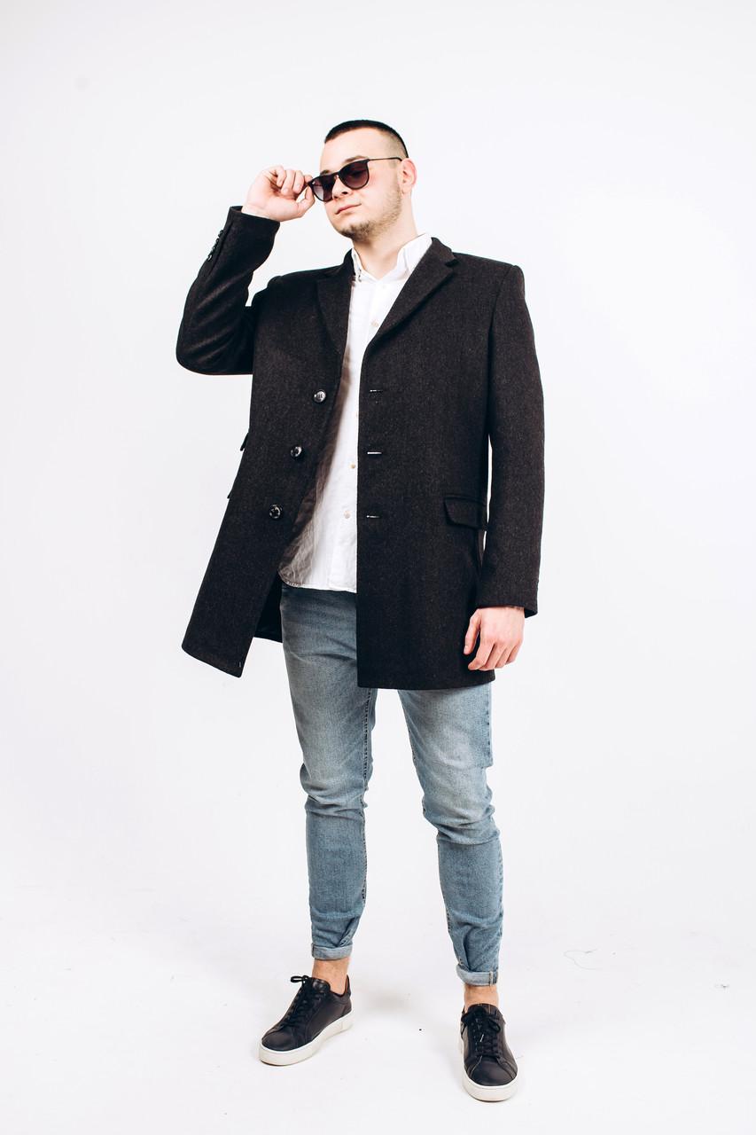 Пальто мужское из шерсти серой М7
