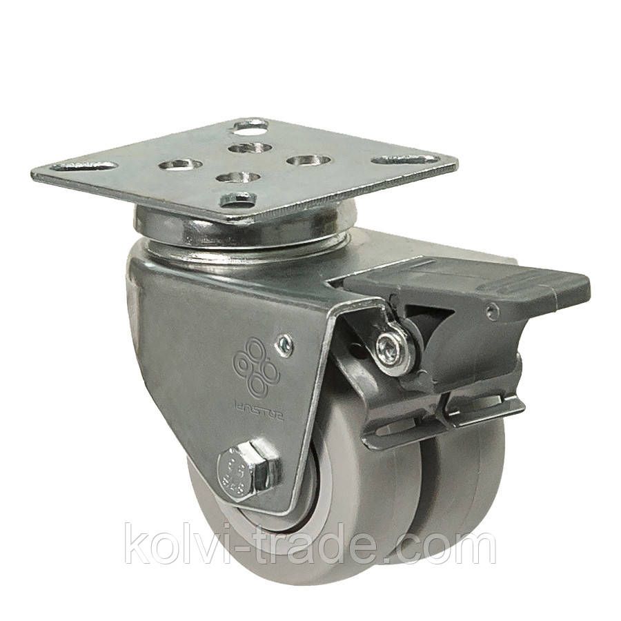 Колеса поворотные с крепежной панелью и тормозом (шарикоподшипник) Диаметр: 50 мм.Серия 19 Twin Light