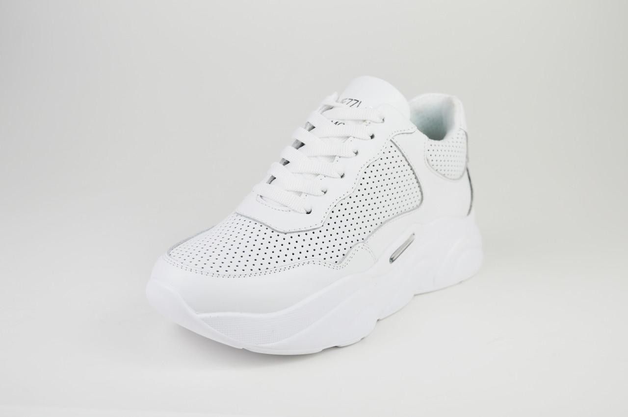 Кроссовки белые на платформе кожаные Ditas 23