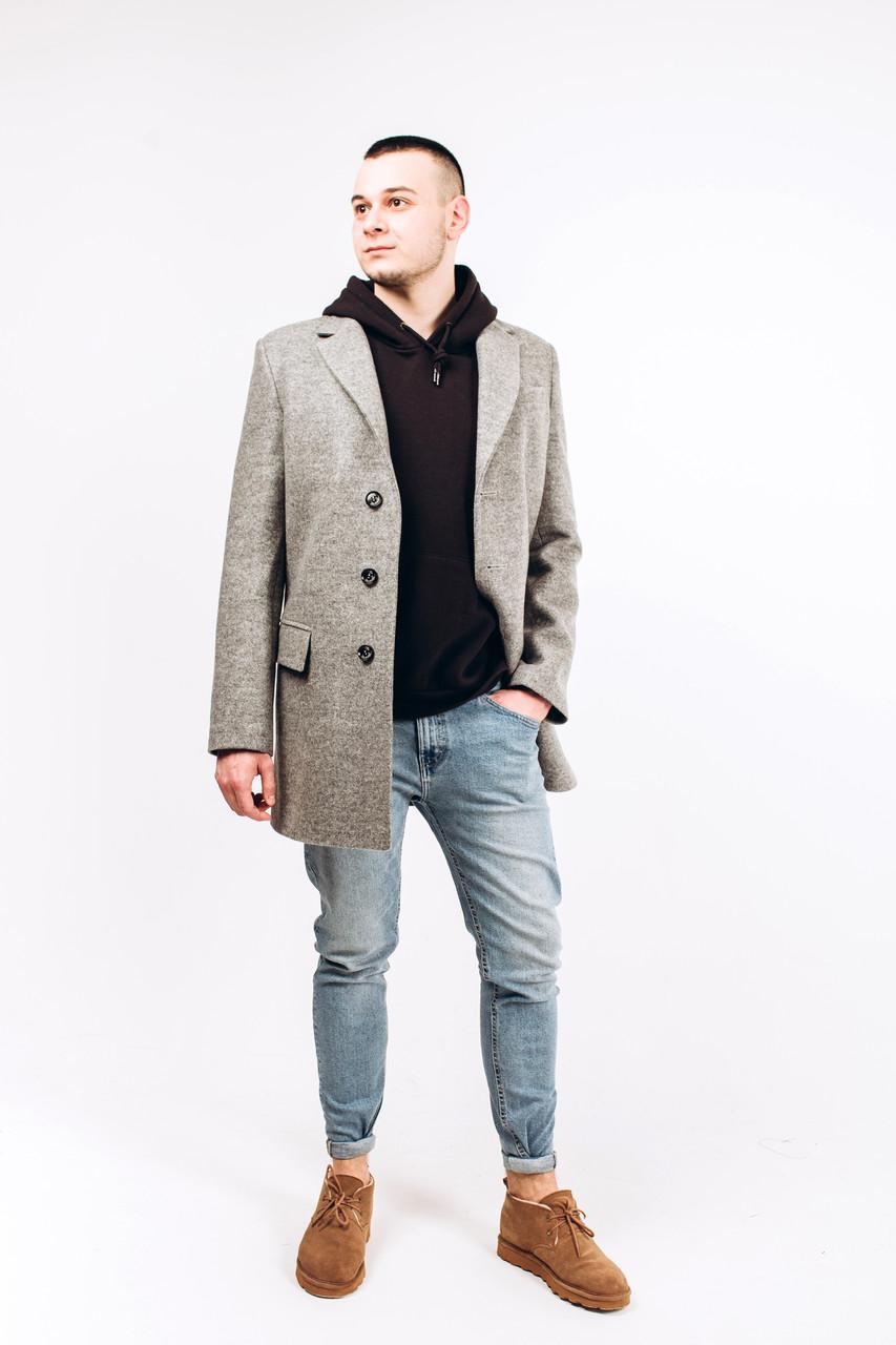 Пальто мужское из шерсти серой М8