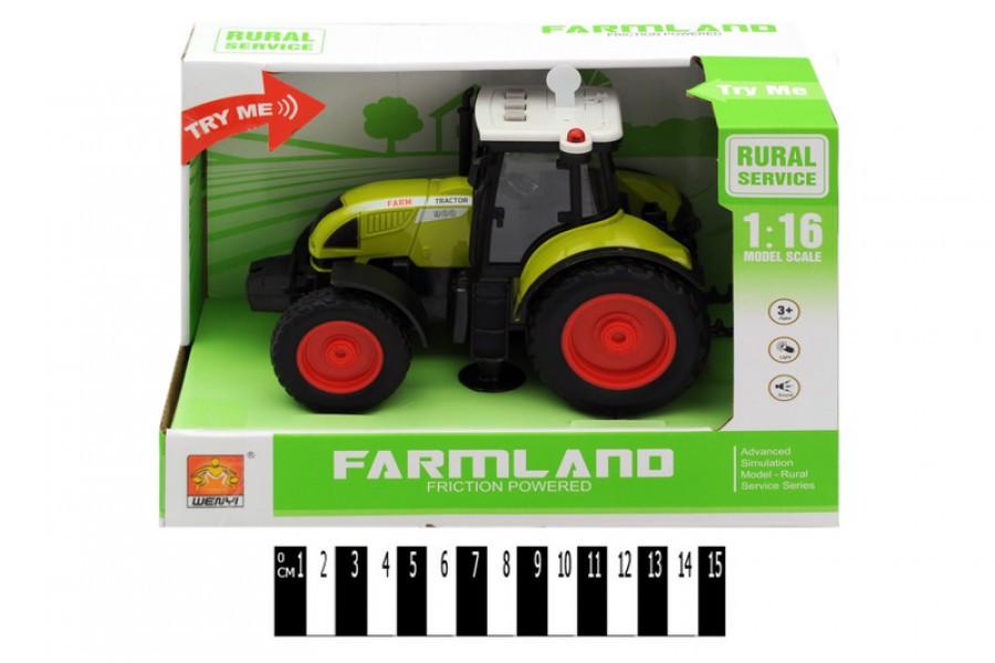 Инерционная пластиковая машинка Трактор WY900, свет, звук, масштаб 1:16
