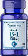 Витамин В1 Vitamin B-1 Тиамин Puritan's Pride, 100 мг, 100 таблеток