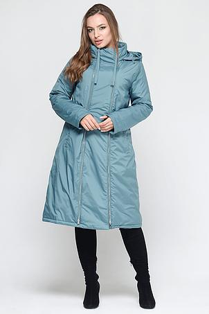 Трендовая женская куртка с двумя молниями CW18C8556CW темно-голубая, фото 2
