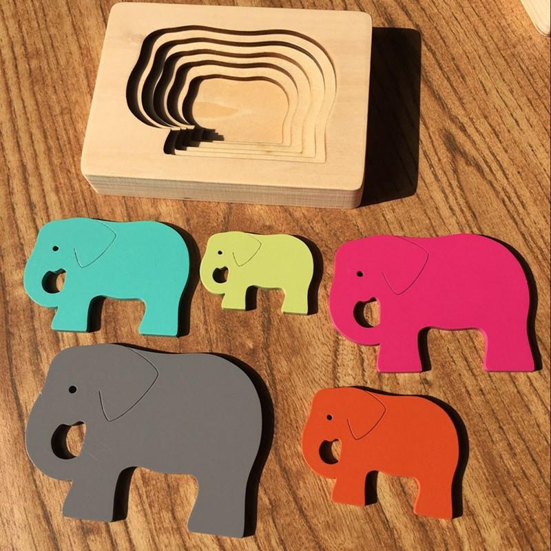 Деревянная развивающая многослойная 3D головоломка Слоник CandyWood