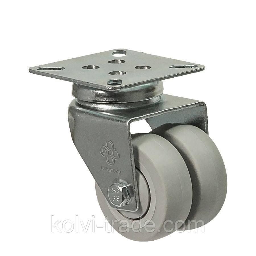 Колеса поворотные с крепежной панелью (подшипник скольжения) Диаметр: 75 мм.Серия 19 Twin Light