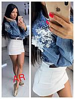 Куртка джинсовая декорированная гипюром и цепочками (1 цвет)