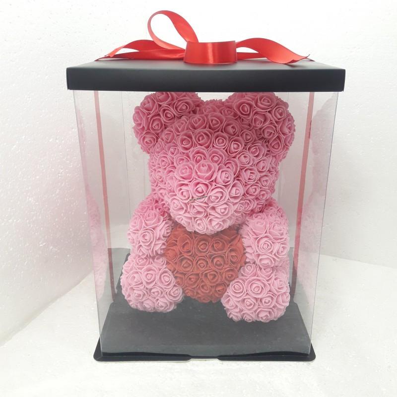 Мишка из роз My Teddy большой розовый 40 см
