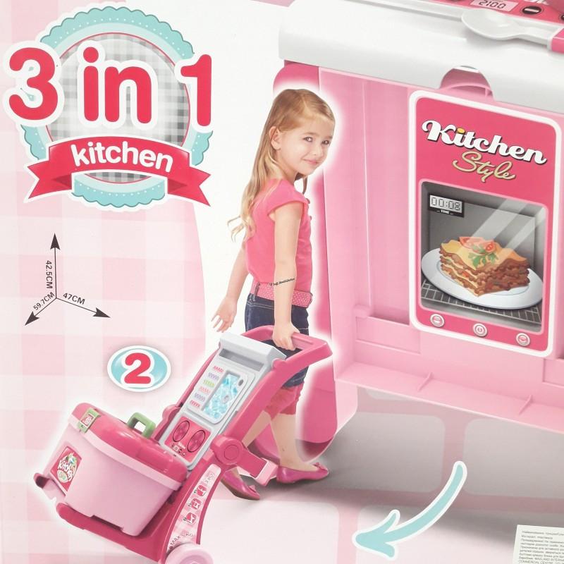 Детская кухня-чемодан на колесах 008-927 с посудкой и продуктами 3 в 1