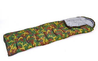 Спальный мешок одеяло с капюшоном камуфляж рр-168+32*70 см. SY-4062