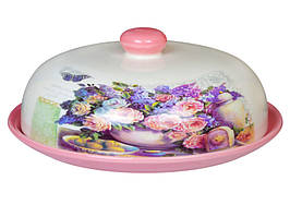 Блюдо для блинов Розовый букет, керамическое с крышкой 358-807