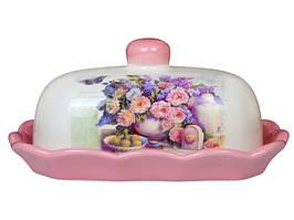 Масленка Розовый букет, керамическая с крышкой 358-810
