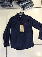Синяя рубашка для мальчиков с длинным рукавом,разм 9-15лет