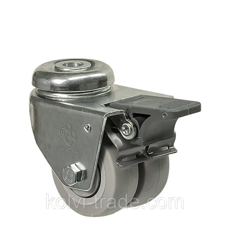 Колеса поворотные с отверстием и тормозом (подшипник скольжения) Диаметр: 75 мм.Серия 19 Twin Light