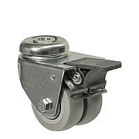 Колеса поворотные с отверстием и тормозом (подшипник скольжения) Диаметр: 75 мм.Серия 19 Twin Light, фото 1
