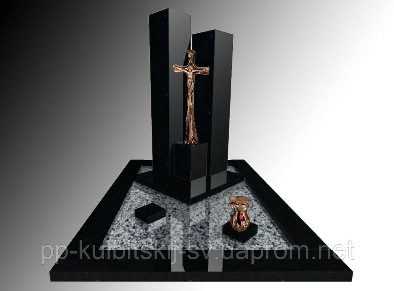 Пам'ятник гранітний з чорного граніту S2012