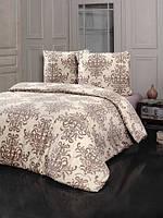 Трикотажное постельное бельё с простыней на резинке KARNA Camila евро