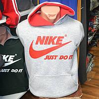 Спортивный трикотажный костюм с кенгурушкой Nike, производства Украина (светло серого цвета)