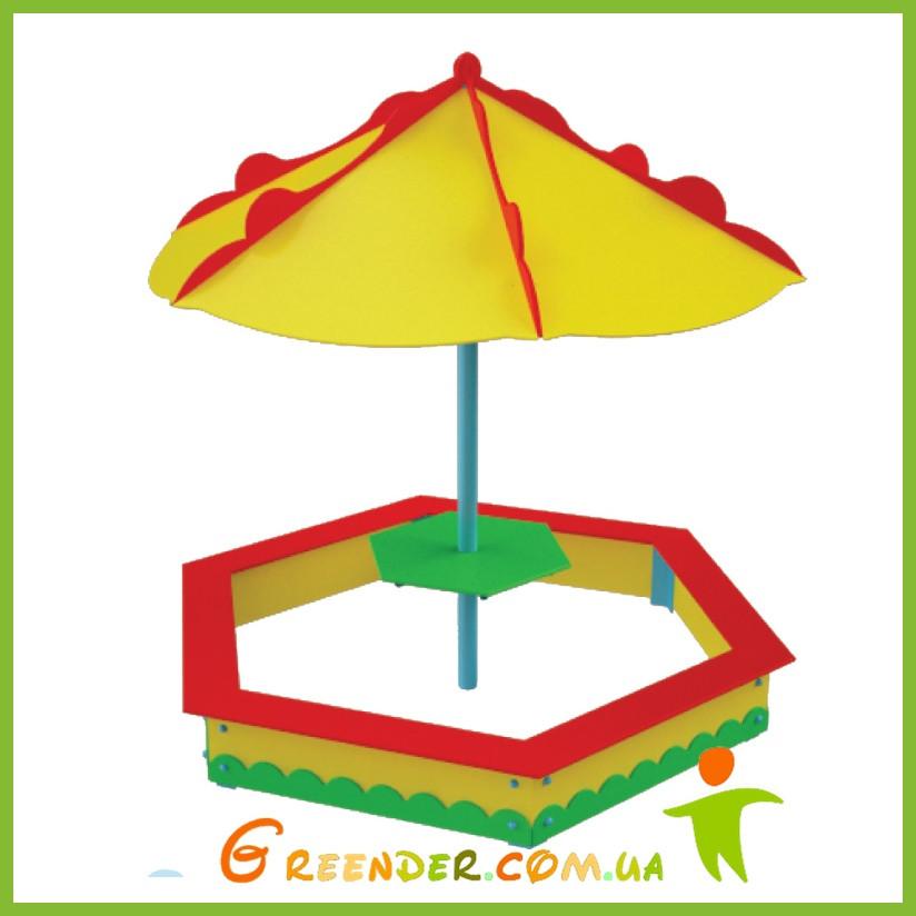 """Песочница с зонтом """"Грибочек"""" цветная для игровых дестких комплексов"""