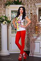 Модная женская футболка с цветочным рисунком, фото 1