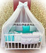 """Детский комплект постельного белья """"Минки"""" с подушками 7 предметов бирюзовый"""