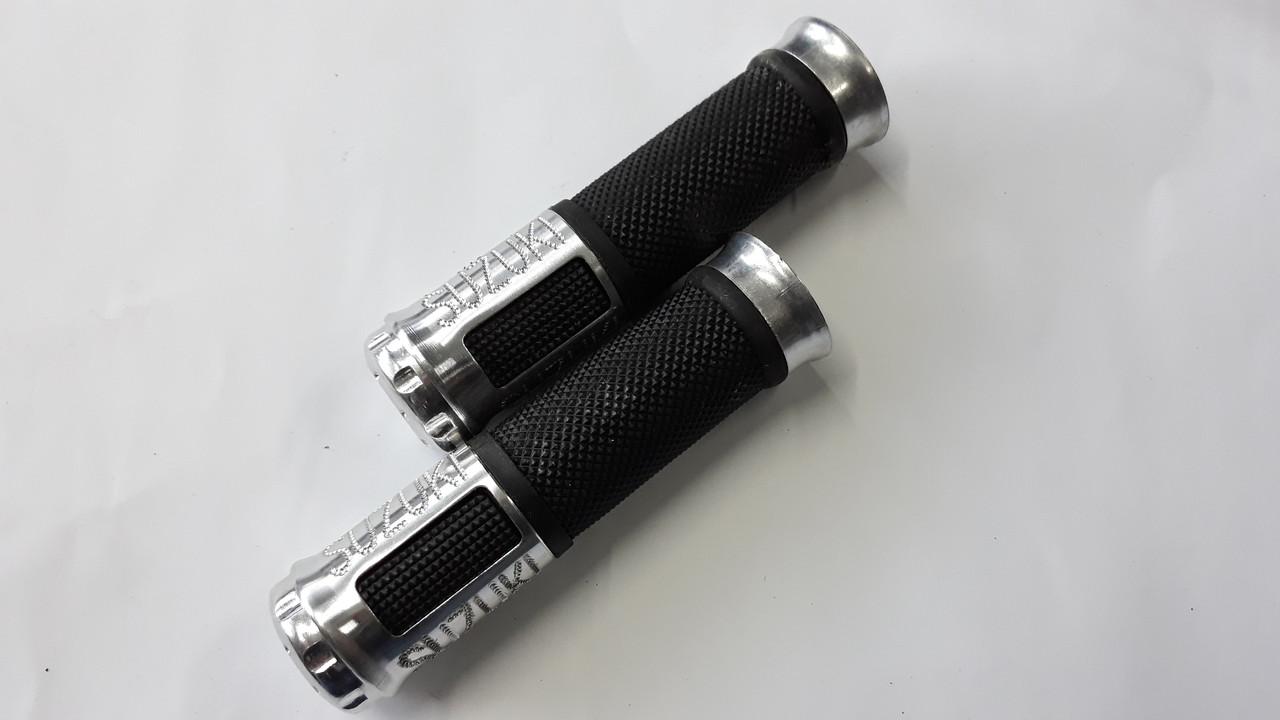 Ручки руля с алюм. отбойником (серебро) (mod:Suzuki) GJCT