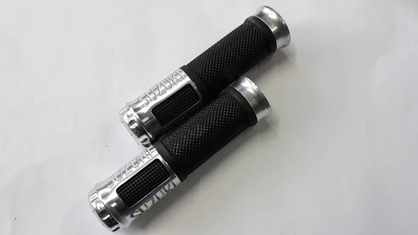 Ручки руля с алюм. отбойником (серебро) (mod:Suzuki) GJCT, фото 2