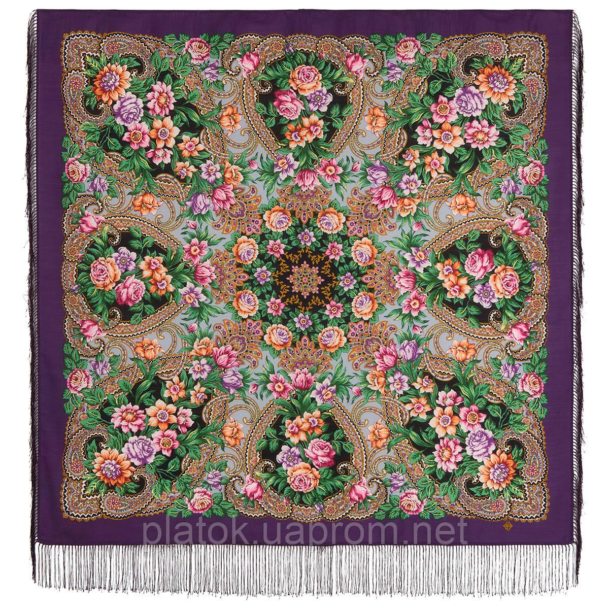 Родниковый край 1835-15, павлопосадский платок шерстяной с шелковой бахромой