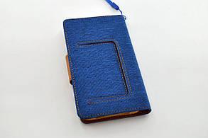 """Чехол-книжка 4you Canvas 3,5""""- 4"""" dark blue/brown универсальная , фото 2"""