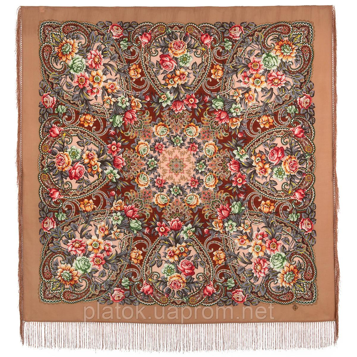 Родниковый край 1835-2, павлопосадский платок шерстяной с шелковой бахромой
