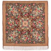 Родниковый край 1835-2, павлопосадский платок шерстяной с шелковой бахромой, фото 1