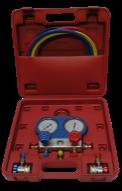 Манометрический коллектор с шлангами и быстросъемными переходниками для заправки фреона HESHITOOLS HS-C1051A, фото 2