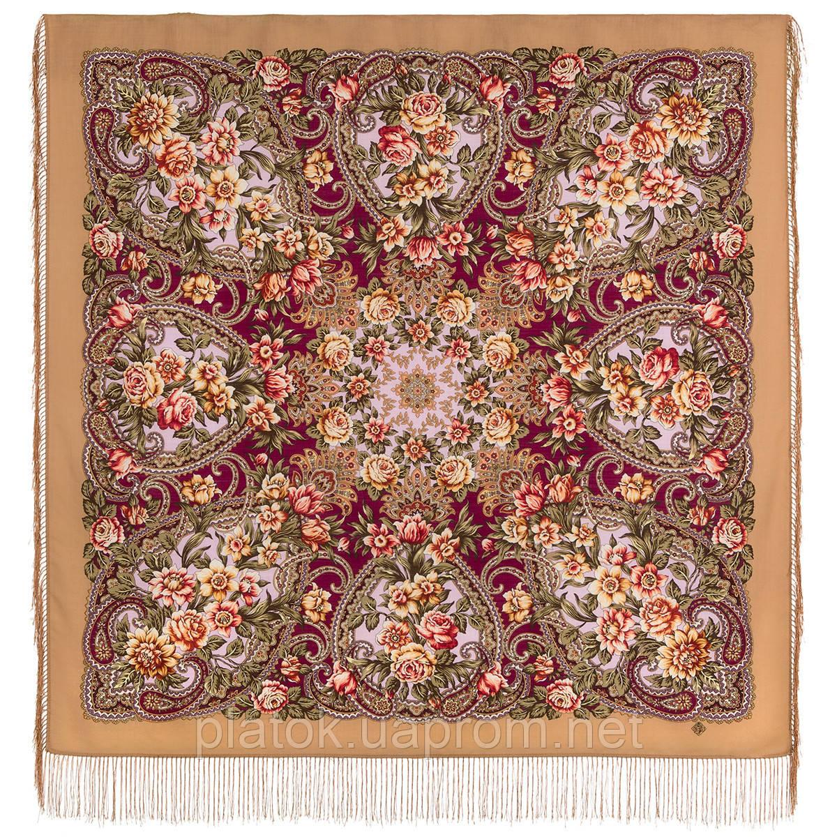 Родниковый край 1835-1, павлопосадский платок шерстяной с шелковой бахромой