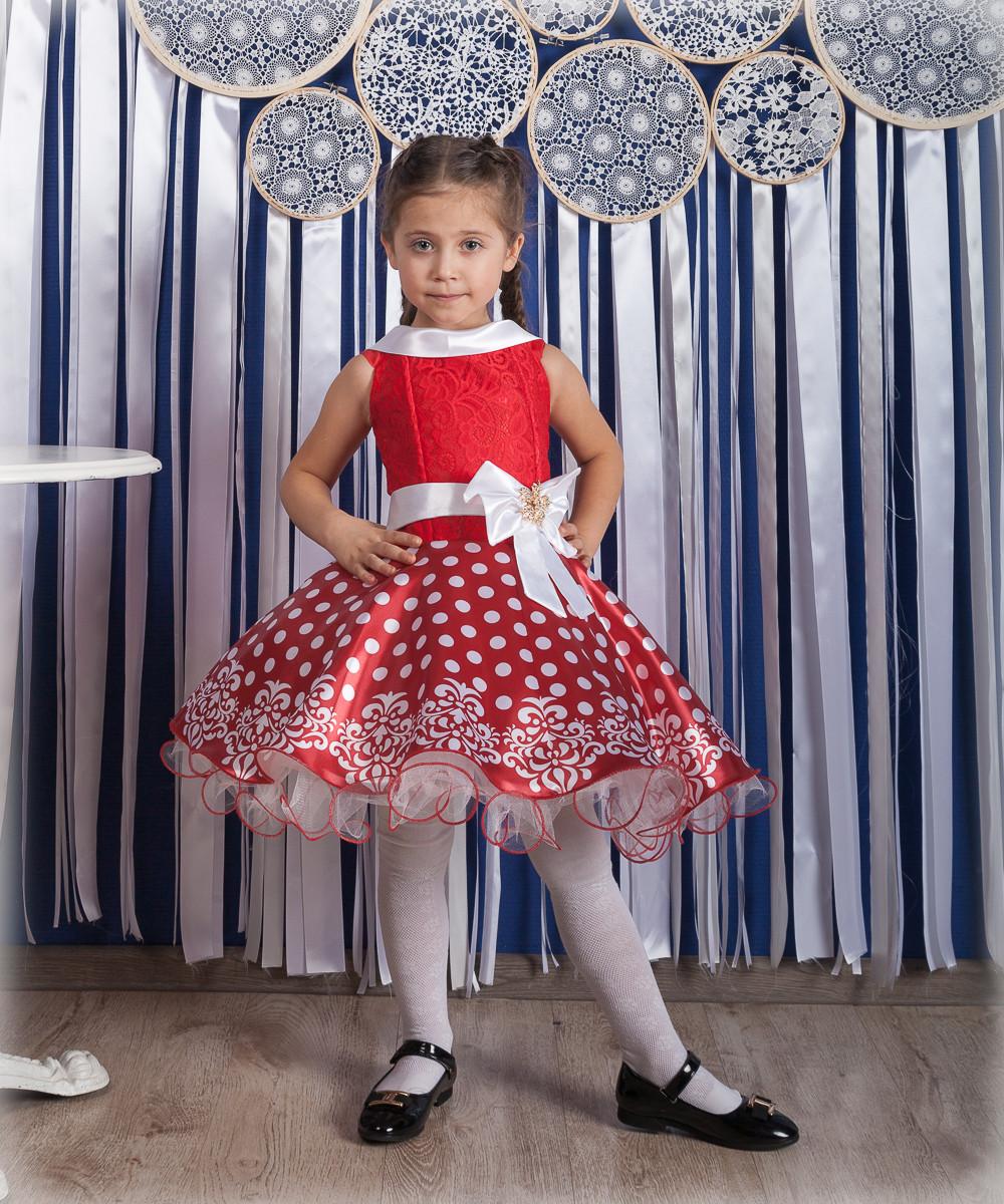"""Детское нарядное бальное платье """"Горох"""" в красном цвете"""