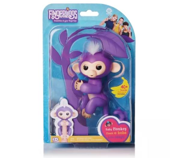 Wowwee Fingerlings Интерактивная ручная обезьянка Mia (фиолетовая)