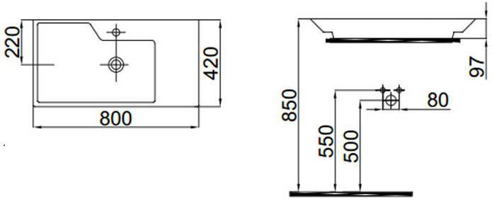 Умывальник накладной на столешницу (42*80 см)  Idevit Lara 0201-2805, фото 2