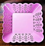 Тарелка квадратная с ажурным краем, пластик., фото 2