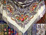Сон метелика 1463-1, павлопосадский вовняну хустку з шовковою бахромою, фото 5