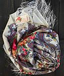 Сон бабочки 1463-1, павлопосадский платок шерстяной с шелковой бахромой, фото 3