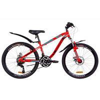 """Велосипед Discovery 24"""" FLINT AM DD рама-13"""" 2019 красно-бирюзовый с черным (OPS-DIS-24-114)"""